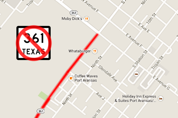 Map with red line showing golf carts are not allowed on Hwy 361